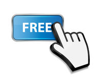 Mouse hand cursor on FREE button vector Royalty Free Stock Photos