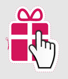 Mouse hand cursor on gift sticker label vector Stock Photo