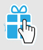 Mouse hand cursor on gift sticker label vector Stock Images