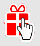 Mouse hand cursor on gift sticker label vector Stock Photos