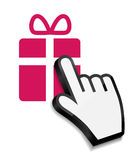 Mouse hand cursor on gift vector illustration Royalty Free Stock Image