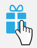 Mouse hand cursor on gift vector illustration Stock Photos