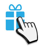 Mouse hand cursor on gift vector illustration Royalty Free Stock Photography