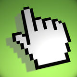 Mouse hand cursor on green background Stock Photography