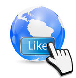 Mouse Hand Cursor on Like Button and Globe Vector Stock Image