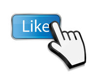 Mouse hand cursor on like button vector Royalty Free Stock Photos