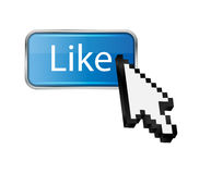 Mouse hand cursor on like button vector Stock Image