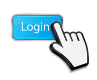 Mouse hand cursor on login button vector Stock Images
