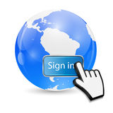 Mouse Hand Cursor on Sign In Button and Globe Royalty Free Stock Image