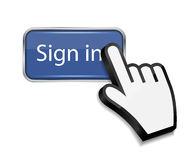 Mouse hand cursor on sign in button vector Stock Photography