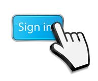 Mouse hand cursor on sign in button vector Royalty Free Stock Images