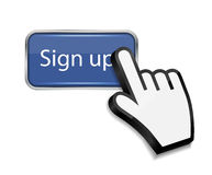 Mouse hand cursor on sign up button vector Stock Image