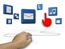 Mouse and hand cursor with  social media symbol Stock Images