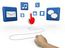 Mouse and hand cursor with  social media symbol. On white Royalty Free Stock Photo