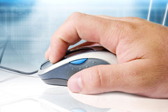 Mouse, hand and high tech background Royalty Free Stock Photography