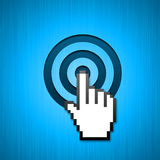Mouse hand pointer aimed click. Big mouse hand cursor clicking in the bulls-eye. Can be used for targeted add background Stock Photos