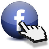 Mouse Hand Press Facebook Button. 3D Mouse Hand press a button of facebook isolated on white background Stock Photo