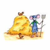 Mouse - hay stack Royalty Free Stock Images