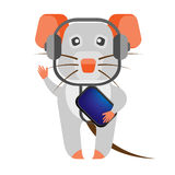 Mouse in headphones Royalty Free Stock Images