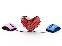 Mouse with heart Stock Image