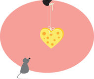 Mouse and heart from cheese Royalty Free Stock Image