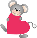 Mouse on heart shaped Royalty Free Stock Image
