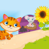 Mouse Hiding From Cat. Vector illustration of mouse hiding from a cat in a hole stock illustration