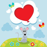 Mouse with his heart in his hands Stock Image