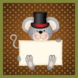 Mouse holding a blank sign background Stock Images