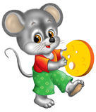 Mouse holding cheese Stock Image