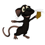 Mouse Holding Cheese. Cartoon mouse holding some cheese Stock Photo