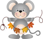 Mouse holding a garland of fall leaves Stock Images