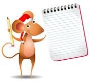 Mouse Holding Notepad Royalty Free Stock Photo