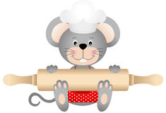 Mouse holding rolling pin Royalty Free Stock Photo