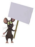 Mouse holding a sign. Isloated on the white background Stock Photo