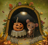 Mouse in  hole. Conceptual illustration for Halloween with  mouse and  pumpkin. Computer graphics Royalty Free Stock Photos