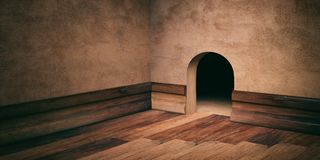 Mouse house hole on plastered wall, wooden floor and skirting, copy space. 3d illustration Royalty Free Stock Image