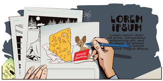 Mouse with a huge piece of cheese for Christmas. Hand paints pic Royalty Free Stock Image