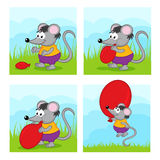 Mouse inflates balloon Royalty Free Stock Image