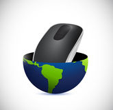 Mouse inside a globe illustration design Royalty Free Stock Photo