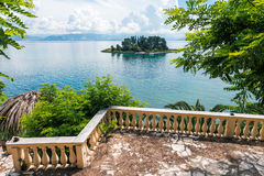 Mouse island on clouds and green leaves, Corfu Stock Image