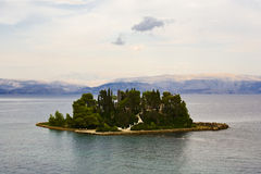 Mouse Island at Corfu anf the albanian mountains Stock Images