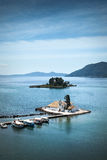 Mouse Island and Corfu Town Chapel, Greece Royalty Free Stock Photos