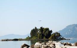 Mouse Island on the Island of Corfu in Greece Stock Photo