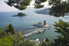 Mouse island and the Vlacherna monastery, Corfu Stock Photos