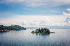 Mouse island and the Vlacherna Monastery, Corfu Royalty Free Stock Images