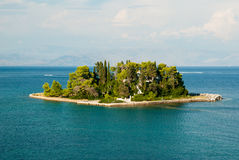 Mouse Island and the Vlacherna Monastery on the Kanoni peninsula Royalty Free Stock Photo