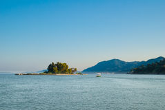 Mouse Island and the Vlacherna Monastery on the Kanoni peninsula Stock Photos