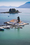 Mouse Island and Vlacherna Monasteryon Corfu Stock Photography