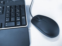 Mouse and keyboard blue Royalty Free Stock Photo